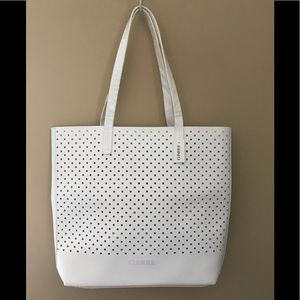 Clinique NWT Large White Tote Bag w/ Cutouts.